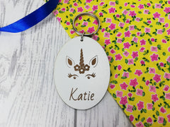 Personalised Engraved White Wooden Unicorn Keyring Key ring Any Name Gift School bag tag