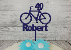 Personalised wooden birthday Bike cake topper Any name Any Age Bicycle Glitter