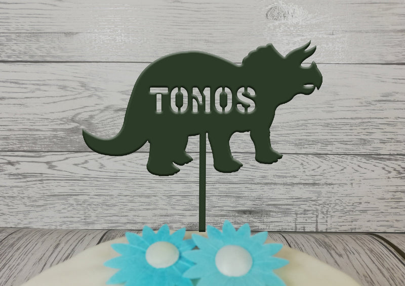 Personalised wooden birthday Dinosaur Birthday cake topper Any name any colour or glitter