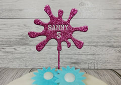 Personalised wooden birthday Slime splat cake topper glitter Any name Any Age