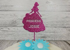 Personalised wooden birthday Princess glitter cake topper Any name