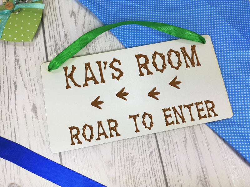 Personalised Engraved white 20cm hanging dinosaur bedroom sign Roar to enter Any Name