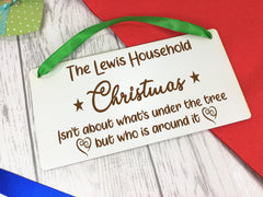 Personalised Engraved White 20cm hanging Christmas sign Any Surname Christmas is about