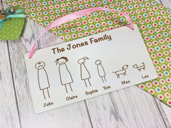 Personalised Engraved white hanging stick family sign Any Names Pets Choice of figures