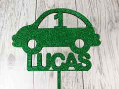Personalised Wooden Glitter birthday Car cake topper Any name Any Age 1st 2nd 3rd 4th 5th