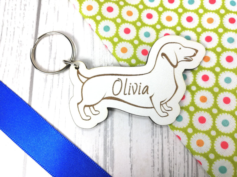Personalised Engraved White Wooden Dog Keyring Key ring Any Name Gift School bag tag