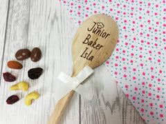 Personalised Engraved Junior Baker Wooden Spoon Any name with or without ribbon