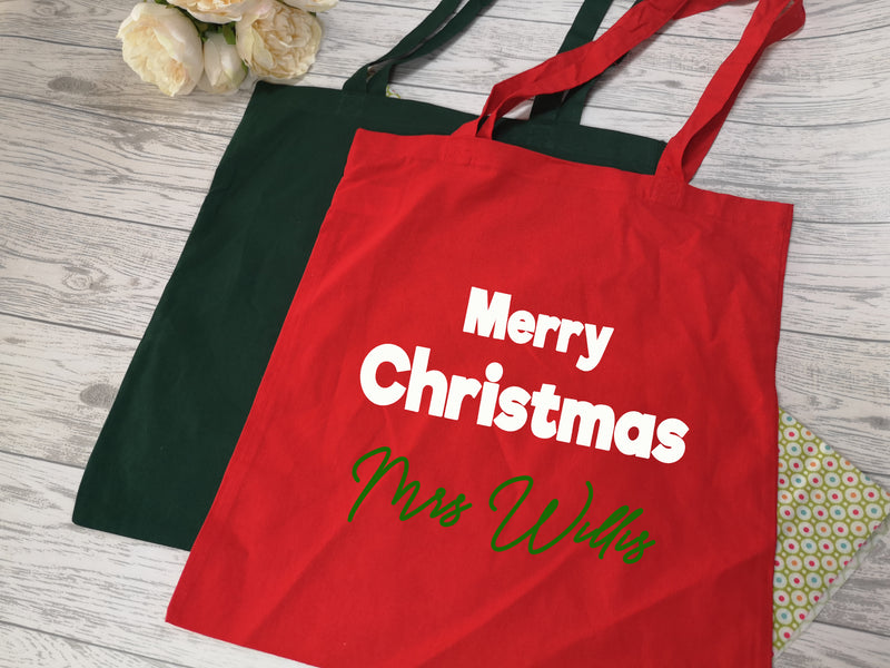 Personalised Christmas Teacher Tote bag Merry Christmas