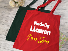 Personalised Welsh Christmas Teacher Tote bag Nadolig Llawen