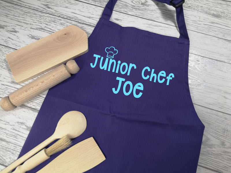 Personalised children's Junior chef Purple apron