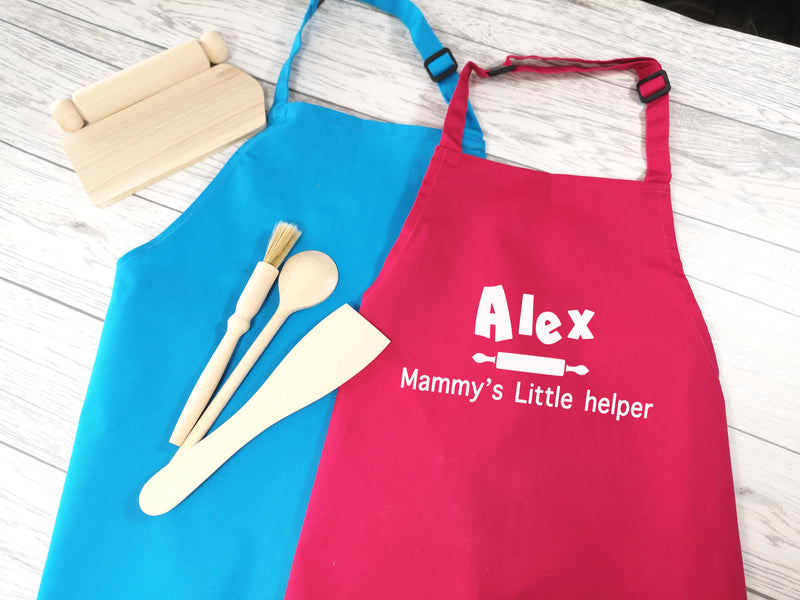 Personalised children's Little Helper apron in pink or blue