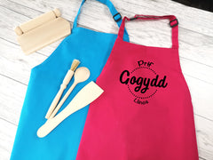 Personalised children's Welsh Prif gogydd apron in pink or blue