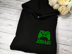 Personalised Kids BLACK hoodie with Gaming and name detail
