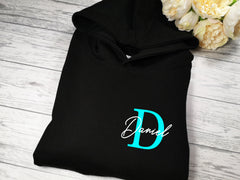 Personalised Kids BLACK hoodie with letter and name detail for Boys and girls
