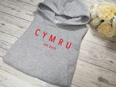 Custom Kids Grey hoodie with CYMRU am byth detail for Boys and girls