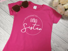 Custom Kids HOT PINK promoted to big sister t-shirt