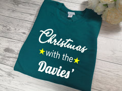 Personalised Unisex JADE GREEN Christmas jumper with 'Surname' detail