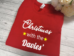Personalised Unisex RED Christmas jumper Christmas with the 'Surname' detail