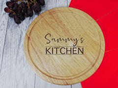 Personalised Engraved Wooden kitchen Round Chopping board
