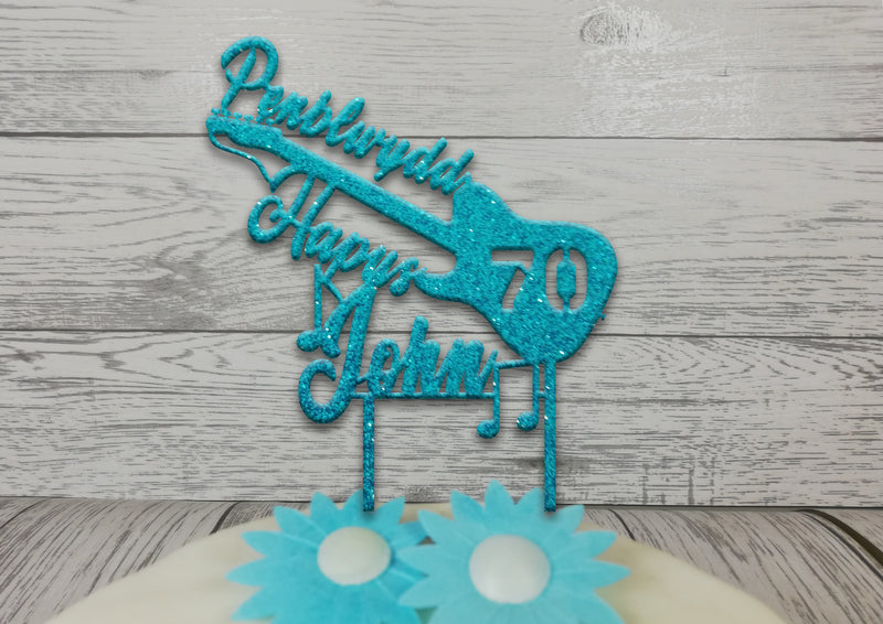Personalised wooden birthday Welsh Music left handed Guitar cake topper Any name