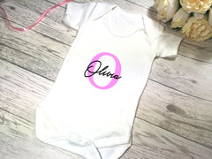 Personalised White Baby vest suit with letter and name detail