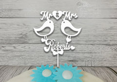 Personalised wooden Wedding Love birds Mr & Mrs cake topper