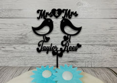 Personalised wooden Wedding Love birds Mrs & Mrs cake topper