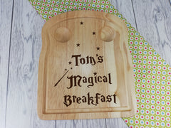 Personalised Engraved Magical Wooden Toast Shaped egg breakfast board Any Name