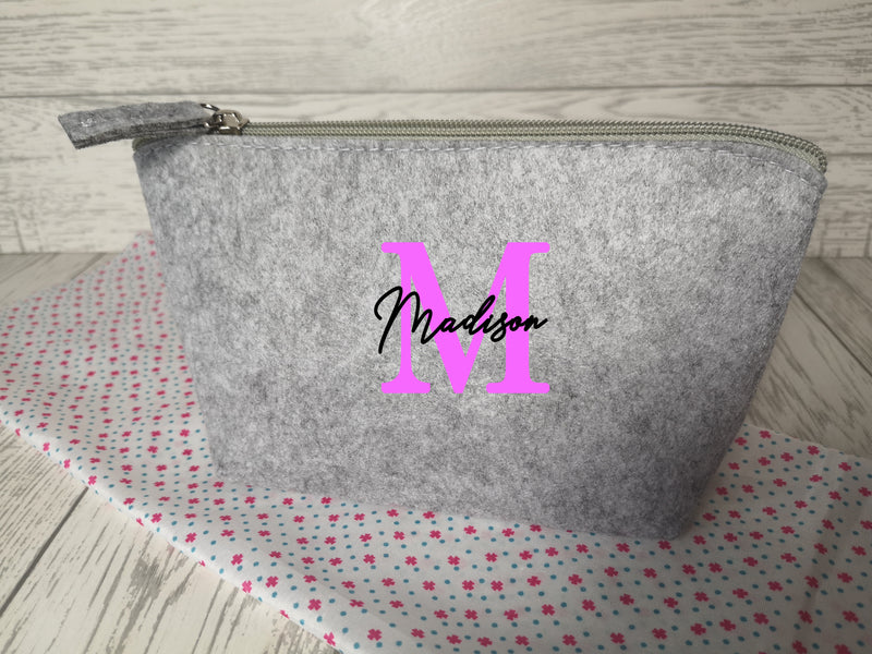 Personalised Light grey Small Felt Makeup bag with letter and name