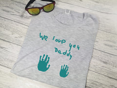 Personalised Welsh heather GREY Dad t-shirt with Handprints and kids handwriting detail