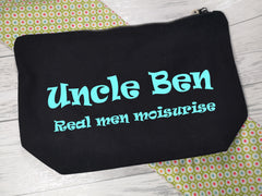 Personalised BLACK canvas Large Real men moisturise Accessory bag
