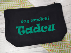 Personalised Welsh BLACK canvas Large Bag ymolchi Accessory bag