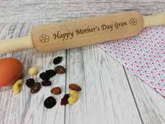 Personalised Engraved wooden Mother's day Flower Rolling Pin Any name