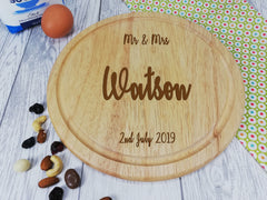 Personalised Engraved Wooden Round Kitchen Mr & Mrs Chopping board Wedding Gift Any Name Date