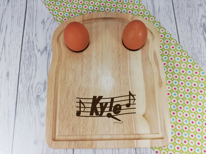 Personalised Engraved Music Wooden Toast Shaped egg breakfast board Any Name