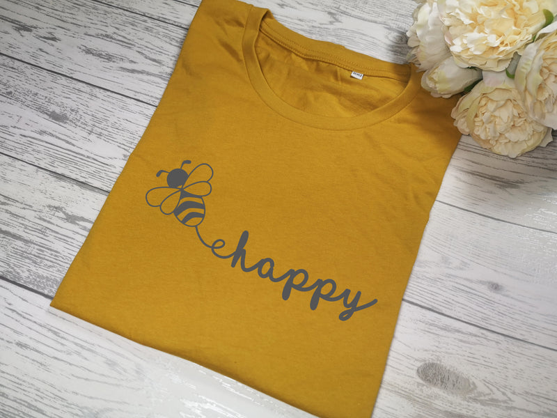 Custom Women's Mustard t-shirt Bee happy with choice of colour detail