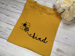 Custom Women's Mustard t-shirt Kind happy with choice of colour detail