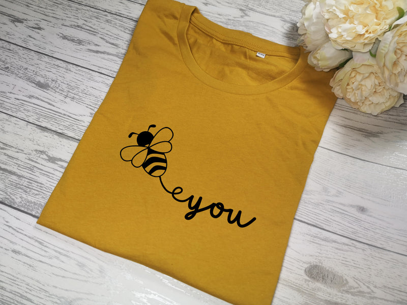 Custom Women's Mustard t-shirt Bee You with choice of colour detail