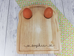 Personalised Engraved Hearts Name Wooden Toast Shaped egg breakfast board Any Name