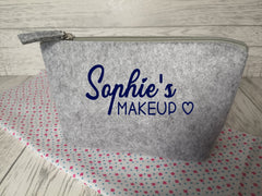Personalised Light grey Small Felt Name makeup bag