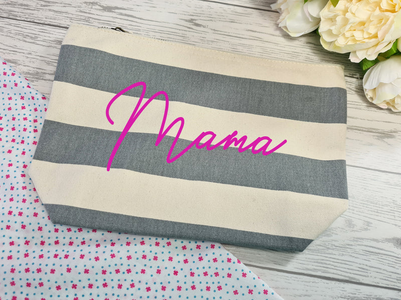 Personalised Nautical grey canvas Large MAKEUP Accessory pouch bag add a name