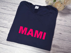 Personalised Women's Navy t-shirt Bold Mummy / Mami / Name with choice of colour detail