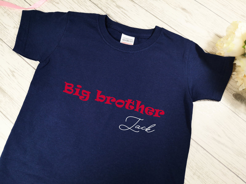 Personalised Kids Navy Big Brother t-shirt with name detail