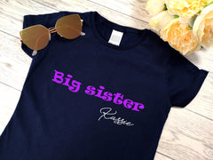 Personalised Kids Navy Big sister t-shirt with name detail