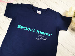 Personalised Kids Navy Welsh Brawd mawr t-shirt with name detail