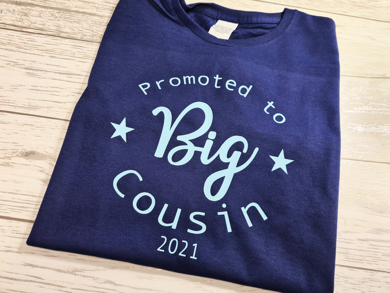 Custom NAVY Kids Promoted to BIG cousin t-shirt
