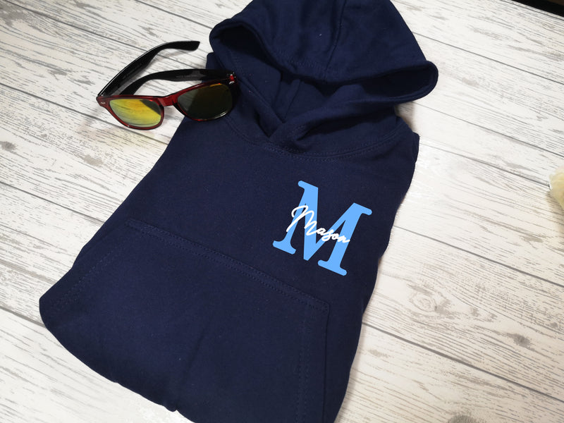 Personalised Kids Navy hoodie with letter and name detail for Boys and girls