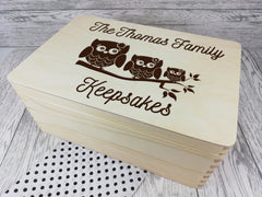 Personalised Owl Family keepsakes Memory box 30cm with handles Any Surname