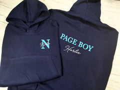 Personalised Kids Navy Page boy hoodie with letter and name detail