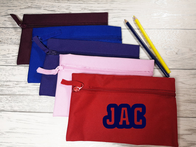 Personalised kids back to school bold pencil case with name detail